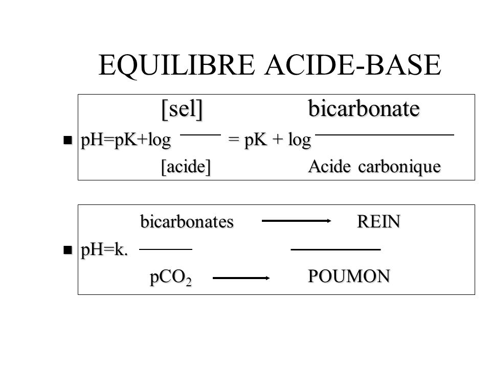 EQUILIBRE ACIDE-BASE [sel] bicarbonate pH=pK+log = pK + log